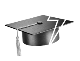 Graduation cap with a lightning bolt