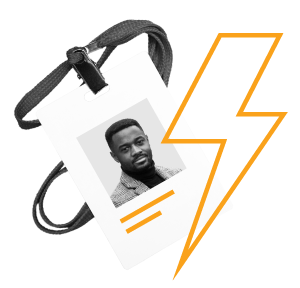 A trainer's identification badge with a lightning bolt