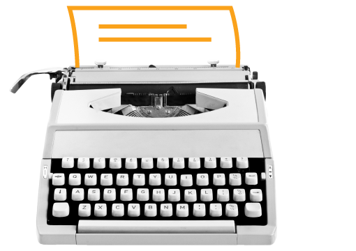 Typewriter with document being written